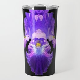 Amethyst Purple  Gemstone  Art Lattice Pattern Iris Flower Travel Mug