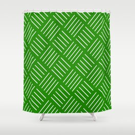 Abstract geometric pattern - green and white. Shower Curtain