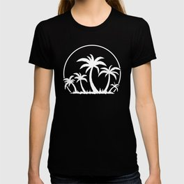 Palm Trees And Sunset in White T-shirt