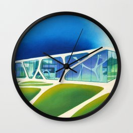 Glass Cube. Wall Clock