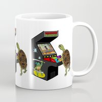 ninja turtle Mugs featuring Arcade Ninja Turtle by Michowl