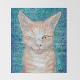 ";P ~ ""Seb the Groovy Cat"" by Amber Marine ~ Watercolor & Acrylic Painting, (Copyright 2016) Throw Blanket"