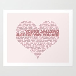 """""""Just The Way You Are"""" Bruno Mars Word Cloud Art Print"""