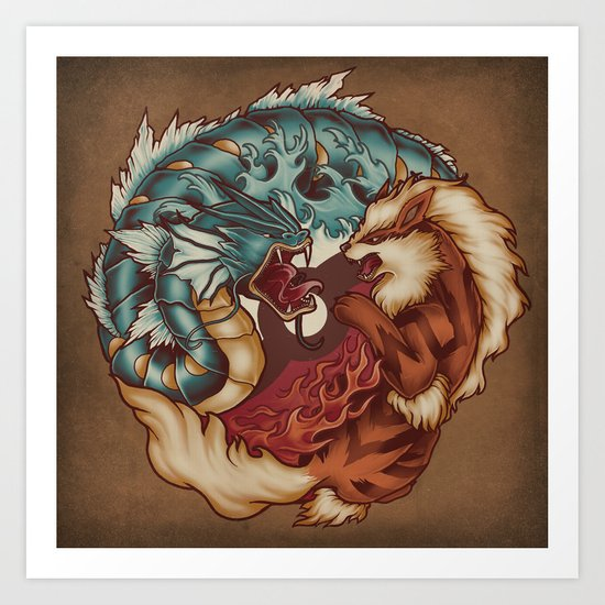 The Tiger and the Dragon Art Print