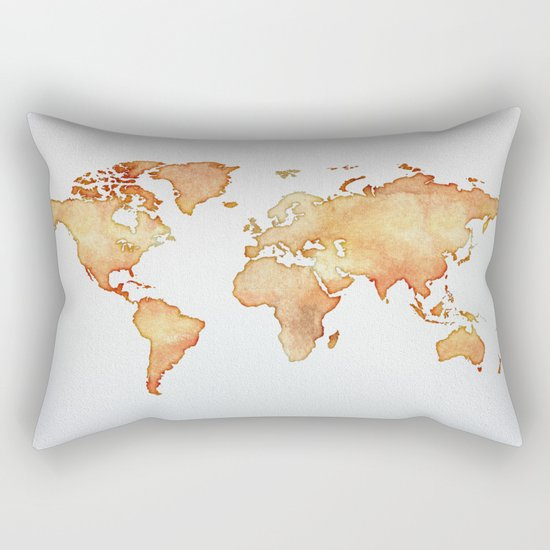 Brown World Map Rectangular Pillow