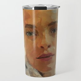 Portrait Painting of Bald Person Woman Face in Yellow Purple Green Impressionist Art Travel Mug