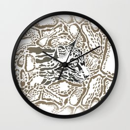 Leopard Clouded background Wall Clock