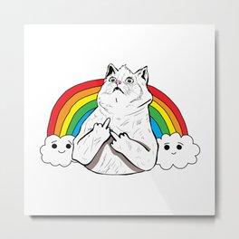 Fluff Off Rainbow Cat Metal Print