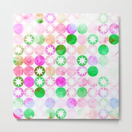 Grunge Pink & Green Dots with Star Bursts Metal Print
