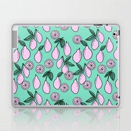 Lemons minimal pastel turq pattern print by andrea lauren cute home decor fruit patterns Laptop & iPad Skin