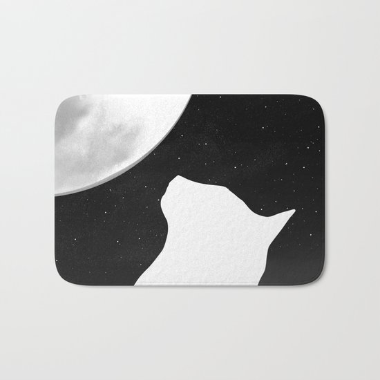 Black And White Dreaming Cat and Moon Design Bath Mat