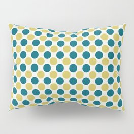 Dark Yellow and Turquoise Polka Dot Pattern on Off White Sherwin Williams Trending Colors of 2019 Oceanside Dark Aqua Blue SW 6496 Pillow Sham