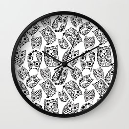 Funny cute owls with ink splashes. Wall Clock