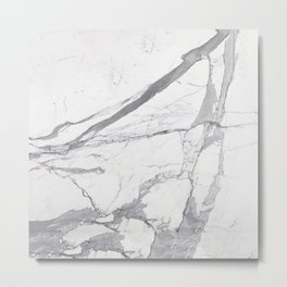 Marble White Winter  Metal Print