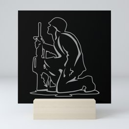 Military Serviceman Kneeling Warrior Tribute Illustration Mini Art Print