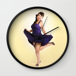 """Flirt Skirt"" - The Playful Pinup - Cheesecake Pinup Smile in Purple Dress by Maxwell H. Johnson Wall Clock"