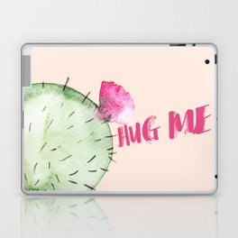 Hug me- Cactus and typography and watercolor Laptop & iPad Skin