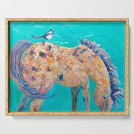 Mustang and Magpie oil on canvas by CheyAnne Sexton Serving Tray