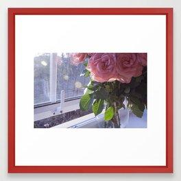 Flowers in the Window Framed Art Print