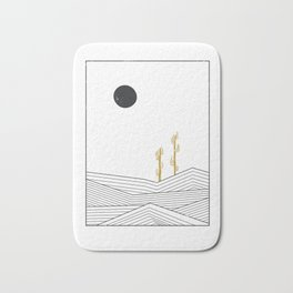 Abstract geometric landscape, desert and cactus Bath Mat