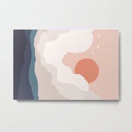 Abstraction_SUN_CLOUD_MOUNTAINS_ART_Minimalism_001A Metal Print