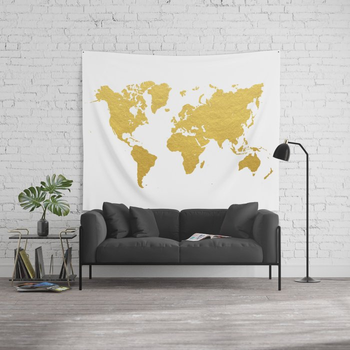 Gold world map wall tapestry by bysamantha society6 gumiabroncs Images