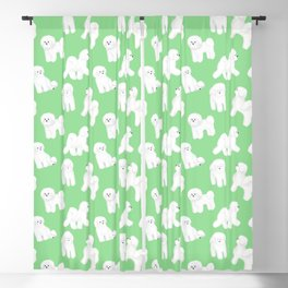 Bichon Frise Pattern (Green Background) Blackout Curtain