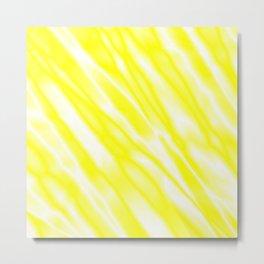 Light metal crooked mirror with yellow white diagonal stripes. Metal Print