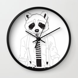 Raccoon ~ black and white Wall Clock
