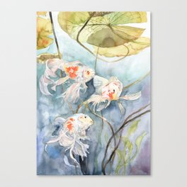 Koi Fish Painting, Underwater Water Lily Canvas Print