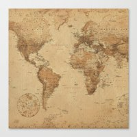 vintage map Canvas Prints featuring VINTAGE MAP by Oksana Smith
