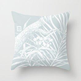 TROPIC ORCHID Bleu Throw Pillow