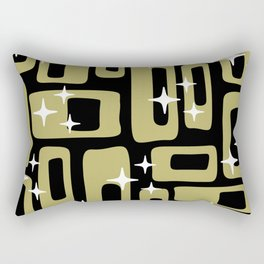 Retro Mid Century Modern Abstract Pattern 676 Black Gold Rectangular Pillow