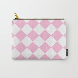Large Diamonds - White and Cotton Candy Pink Carry-All Pouch