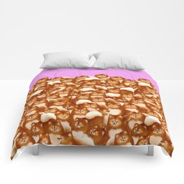 Pomeranians (Lilac Background) Comforters