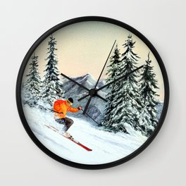 Skiing The Clear Leader Wall Clock
