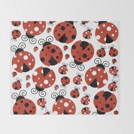 Ladybugs (Ladybirds, Lady Beetles) - Red Black Throw Blanket