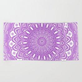 Beautiful Purple Violet Mandala Design Pattern Minimal Minimalistic Beach Towel