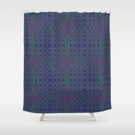 Green, Red and Purple Square Geometric Shower Curtain