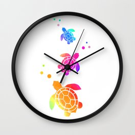 Sea Turtle Bubbles Wall Clock