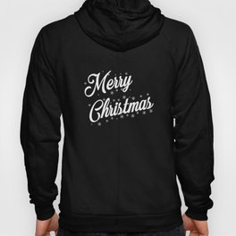 Merry Christmas with Snow Flakes on Red Background Hoody