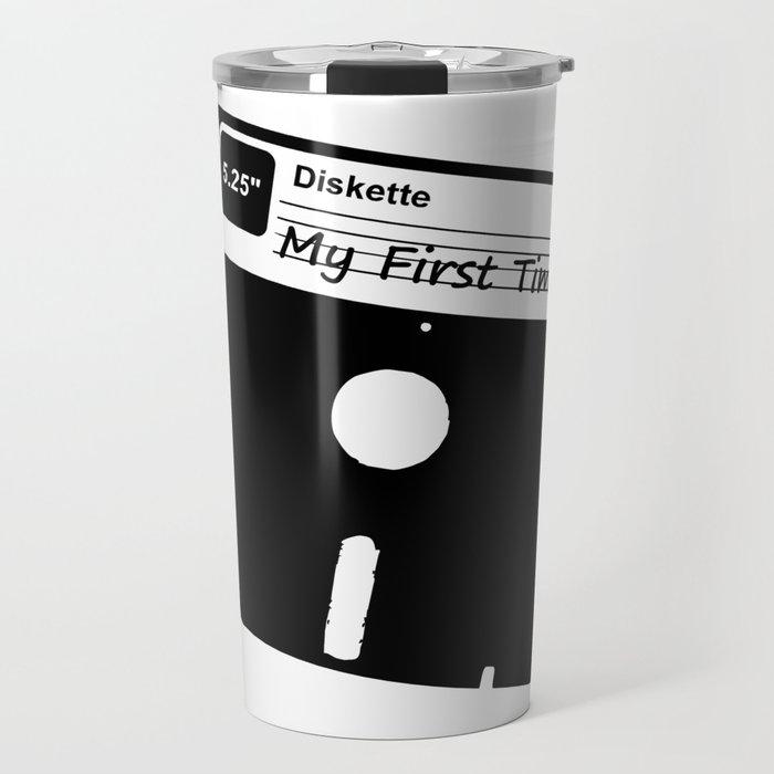 My First Time Retro 80s Floppy Disk Travel Mug
