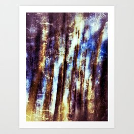 Abstract fine art of tree trunks against a blue sky Art Print