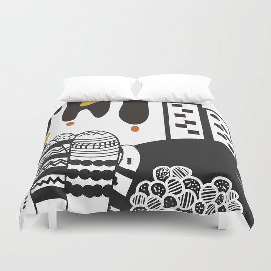 Black and white landscape Duvet Cover
