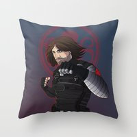 the winter soldier Throw Pillows featuring Winter Soldier  by Inkforwords