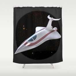 Retro space Fighter Shower Curtain