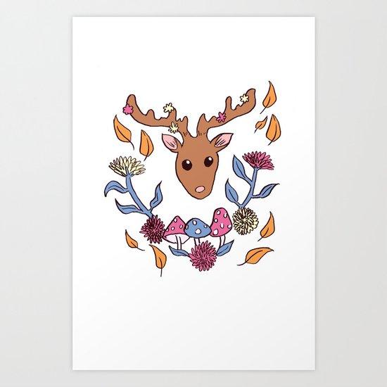 Deer nature Art Print