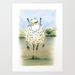 Jubilant Jumping  Sheep Art Print