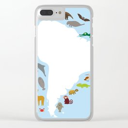 South America sloth anteater toucan lama armadillo manatee monkey dolphin Maned wolf raccoon jaguar Clear iPhone Case