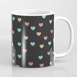 Cute little red, yellow and turquoise blue heart shapes pattern with dark grey background Coffee Mug